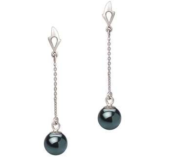 Misha Noir 6-7mm AA-qualité Akoya du Japon 585/1000 Or Blanc-Boucles d'oreilles en perles