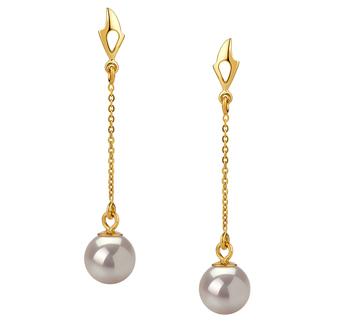 Misha Blanc 6-7mm AA-qualité Akoya du Japon 585/1000 Or Jaune-Boucles d'oreilles en perles