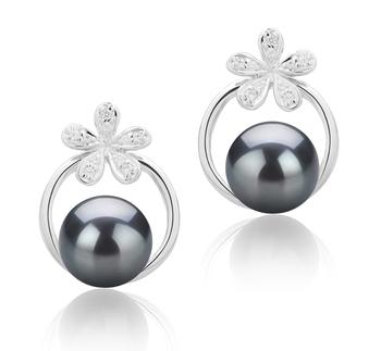 Molly Noir 7-8mm AAAA-qualité perles d'eau douce 925/1000 Argent-Boucles d'oreilles en perles