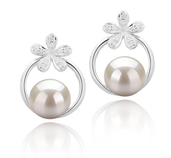 Molly Blanc 7-8mm AAAA-qualité perles d'eau douce 925/1000 Argent-Boucles d'oreilles en perles