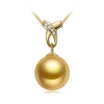 Monica Or 10-11mm AAA-qualité des Mers du Sud 585/1000 Or Jaune-pendentif en perles