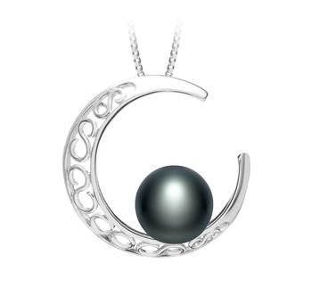 Lune Noir 9-10mm AAA-qualité perles d'eau douce 925/1000 Argent-pendentif en perles