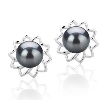 Morgan Noir 7-8mm AAAA-qualité perles d'eau douce 925/1000 Argent-Boucles d'oreilles en perles