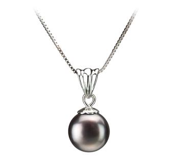 Nancy Noir 9-10mm AA-qualité perles d'eau douce 925/1000 Argent-pendentif en perles