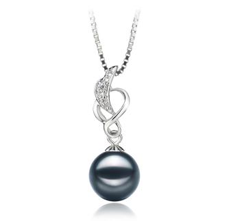 Naomi Noir 8-9mm AA-qualité Akoya du Japon 925/1000 Argent-pendentif en perles