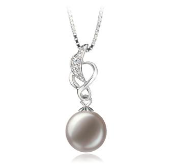 Naomi Blanc 9-10mm AA-qualité perles d'eau douce 925/1000 Argent-pendentif en perles