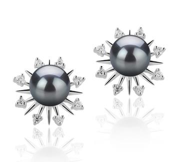 Natasha Noir 7-8mm AAAA-qualité perles d'eau douce 925/1000 Argent-Boucles d'oreilles en perles