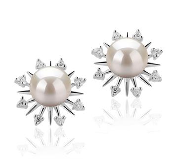 Natasha Blanc 7-8mm AAAA-qualité perles d'eau douce 925/1000 Argent-Boucles d'oreilles en perles