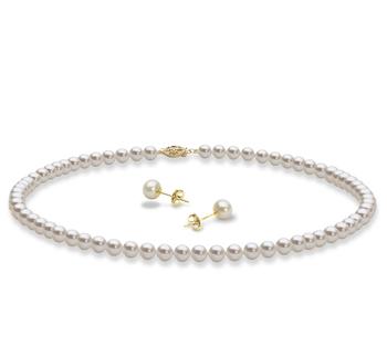 Collier et boucles d'oreilles Blanc 5-6mm AAA-qualité perles d'eau douce -un set en perles