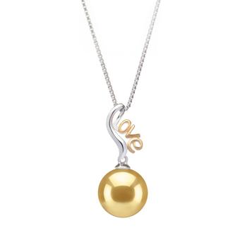 Nelia Or 10-11mm AAA-qualité des Mers du Sud 925/1000 Argent-pendentif en perles