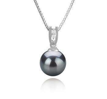 Nerea Noir 8-9mm AAAA-qualité perles d'eau douce 925/1000 Argent-pendentif en perles