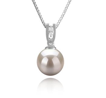Nerea Blanc 8-9mm AAAA-qualité perles d'eau douce 925/1000 Argent-pendentif en perles