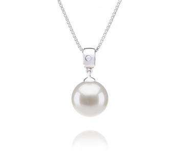 Nicole Blanc 9-10mm AAAA-qualité perles d'eau douce 925/1000 Argent-pendentif en perles