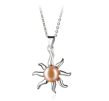 Nina Rose 7-8mm AA-qualité perles d'eau douce Blanc Bronze-pendentif en perles