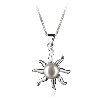 Nina Blanc 7-8mm AA-qualité perles d'eau douce Blanc Bronze-pendentif en perles