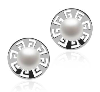 Noé Blanc 8-9mm AAA-qualité perles d'eau douce 925/1000 Argent-Boucles d'oreilles en perles