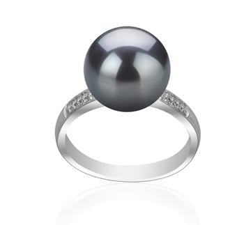 Oana Noir 10-11mm AAAA-qualité perles d'eau douce 925/1000 Argent-Bague perles