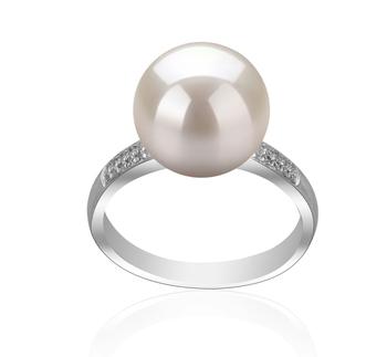 Oana Blanc 10-11mm AAAA-qualité perles d'eau douce 925/1000 Argent-Bague perles