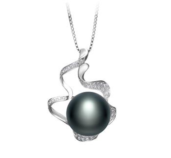 Oceane Noir 12-13mm AA-qualité perles d'eau douce 925/1000 Argent-pendentif en perles