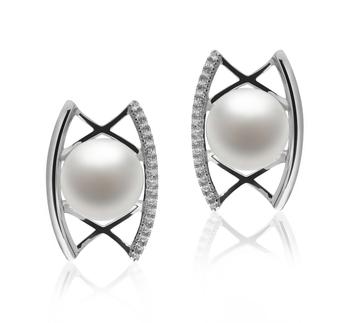 Odelia Blanc 8-9mm AAA-qualité perles d'eau douce 925/1000 Argent-Boucles d'oreilles en perles