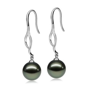 Olivia Dangle Noir 10-11mm AAA-qualité de Tahiti 585/1000 Or Blanc-Boucles d'oreilles en perles