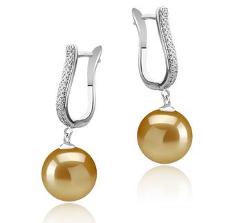 Ophélie Or 10-11mm AAA-qualité des Mers du Sud 925/1000 Argent-Boucles d'oreilles en perles
