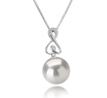 Patsy Blanc 12-13mm AA+-qualité perles d'eau douce - Edison 925/1000 Argent-pendentif en perles
