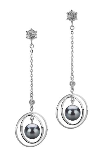 Misha Noir 6-7mm AA-qualité Akoya du Japon 925/1000 Argent-Boucles d'oreilles en perles