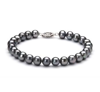 Noir 6-7mm AA-qualité perles d'eau douce 925/1000 Argent-Bracelet de perles