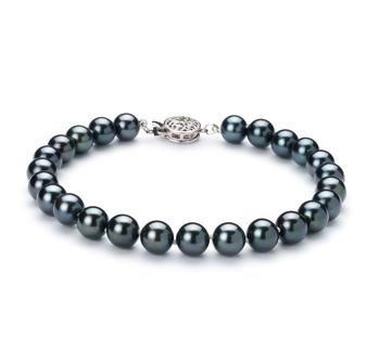 Noir 6.5-7mm AA-qualité Akoya du Japon 925/1000 Argent-Bracelet de perles