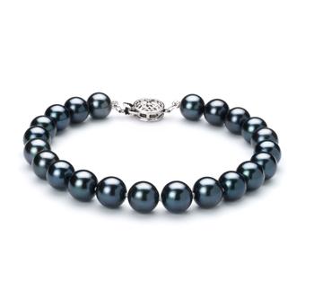 Noir 7.5-8mm AA-qualité Akoya du Japon 925/1000 Argent-Bracelet de perles