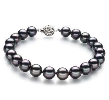 Noir 8.5-9mm AAA-qualité Akoya du Japon 925/1000 Argent-Bracelet de perles