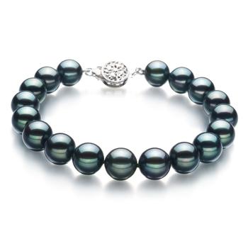 Noir 8.5-9mm AA-qualité Akoya du Japon 925/1000 Argent-Bracelet de perles