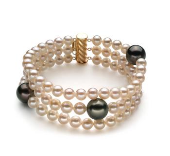 Noir et Blanc 5-11mm AA-qualité de Tahiti et perles d'eau douce 585/1000 Or Jaune-Bracelet de perles