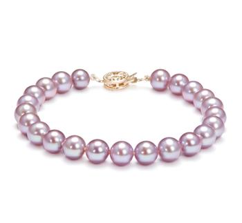 Lavande 7-8mm AAAA-qualité perles d'eau douce Rempli D'or-Bracelet de perles