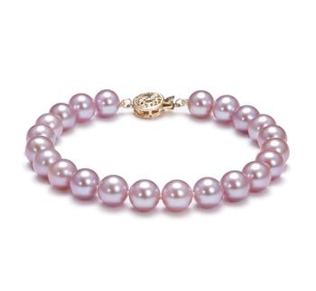 Lavande 7.5-8mm AAA-qualité perles d'eau douce Rempli D'or-Bracelet de perles