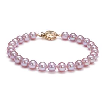 Lavande 6-7mm AAA-qualité perles d'eau douce Rempli D'or-Bracelet de perles