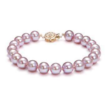 Lavande 8.5-9.5mm AAA-qualité perles d'eau douce Rempli D'or-Bracelet de perles