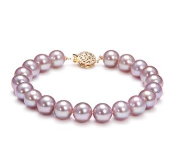 Lavande 8.5-9.5mm AAAA-qualité perles d'eau douce Rempli D'or-Bracelet de perles