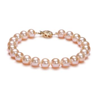Rose 7-8mm AAA-qualité perles d'eau douce Rempli D'or-Bracelet de perles