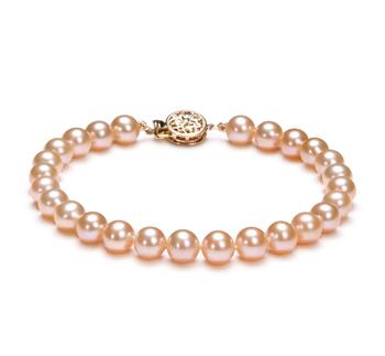 Rose 6-6.5mm AAAA-qualité perles d'eau douce Rempli D'or-Bracelet de perles
