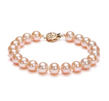 Rose 8-8.5mm AAA-qualité perles d'eau douce Rempli D'or-Bracelet de perles