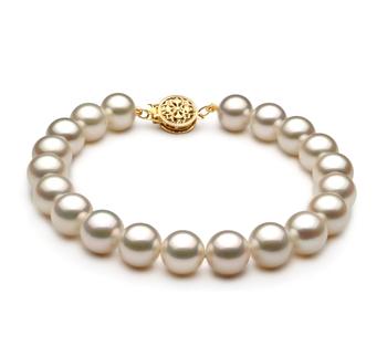 Blanc 8-9mm AAA-qualité perles d'eau douce Rempli D'or-Bracelet de perles