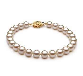 Blanc 6-7mm AAAA-qualité perles d'eau douce Rempli D'or-Bracelet de perles
