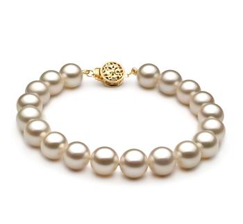 Blanc 8-8.5mm AAAA-qualité perles d'eau douce Rempli D'or-Bracelet de perles