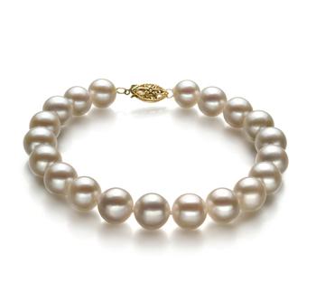 Blanc 8.5-9mm AA-qualité perles d'eau douce Rempli D'or-Bracelet de perles