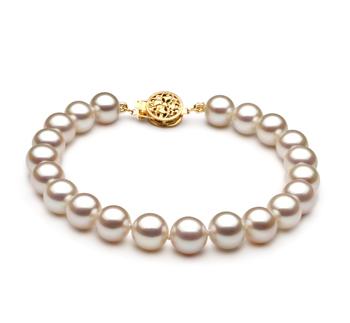 Blanc 7-8mm AAA-qualité perles d'eau douce Rempli D'or-Bracelet de perles