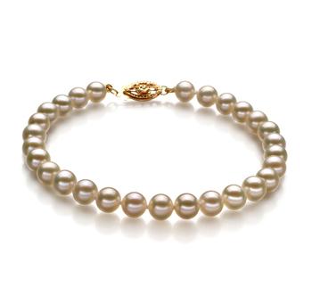 Blanc 5.5-6mm AAA-qualité perles d'eau douce Rempli D'or-Bracelet de perles