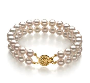 Blanc 6-7mm AA-qualité Akoya du Japon Rempli D'or-Bracelet de perles