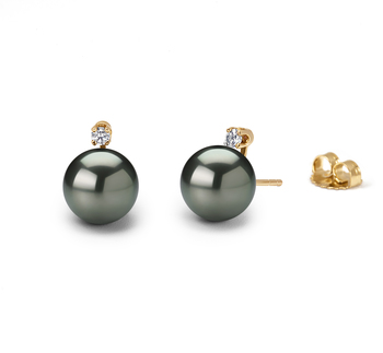 Eternity Noir 7.5-8mm AAA-qualité Akoya du Japon 585/1000 Or Jaune-Boucles d'oreilles en perles